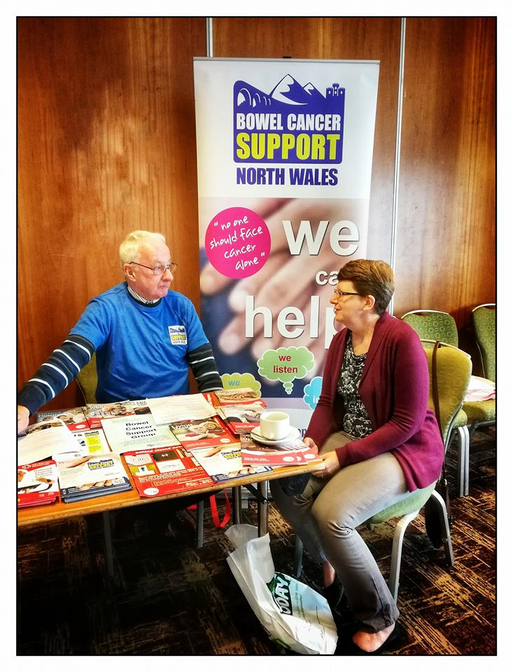 The Bowel Cancer Support North Wales stand at the Macmillan Health & Well-being event in Wrexham.
